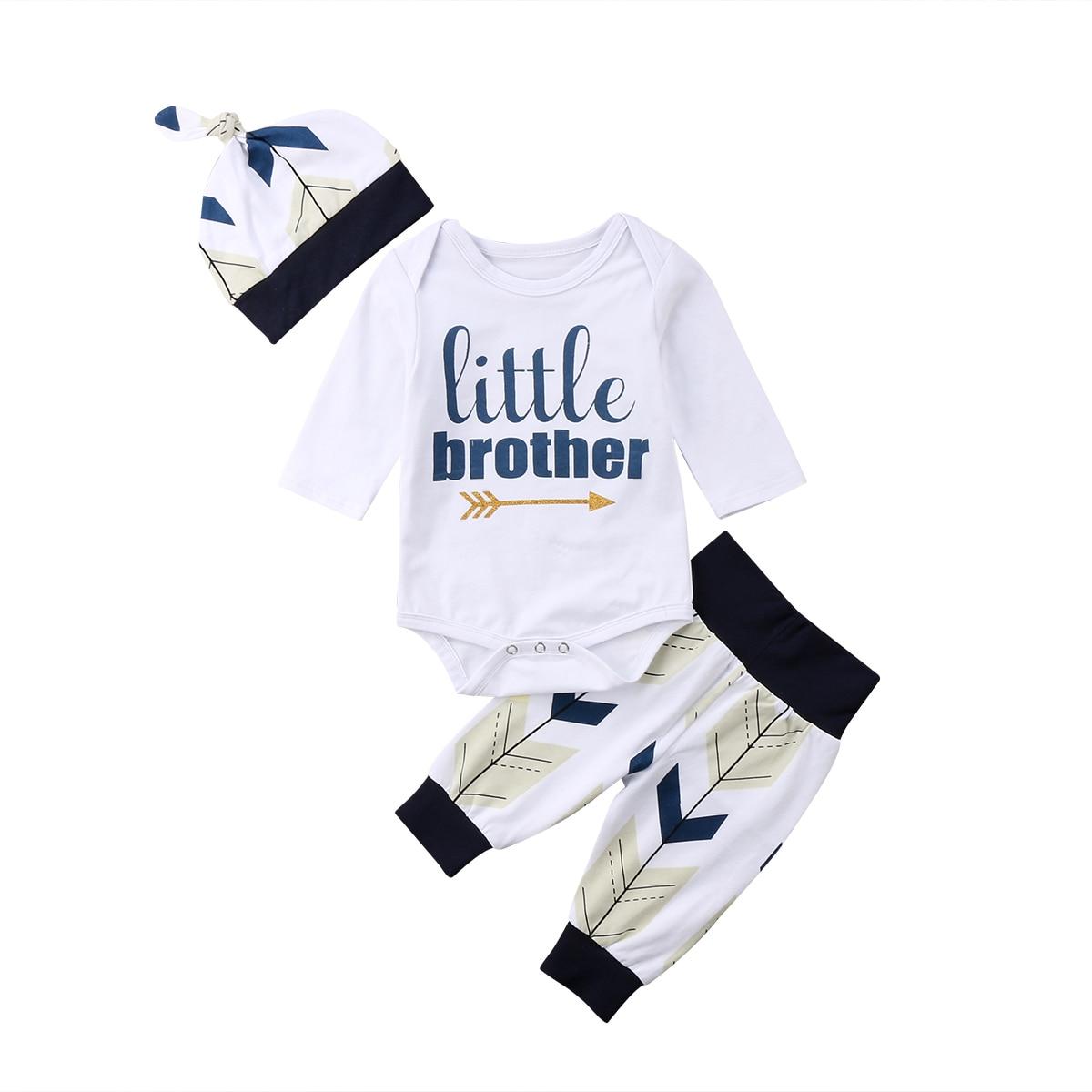 3PCS Newborn Baby Boys Little Brother Letter White Bodysuit+Pants+Hat Infant TOP SALE Outfits Set Clothes 0-24M