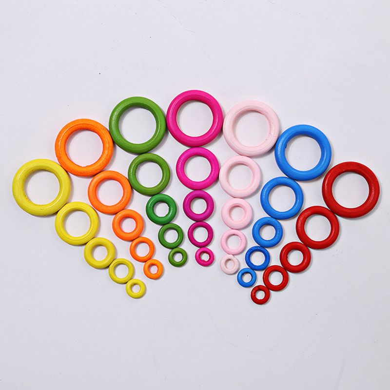 100 300PCS DIY multicolor Wood Beads Connectors Circles Rings for clothes decoration Jewelry making gift accessories 15 25 35mm in Garment Beads from Home Garden