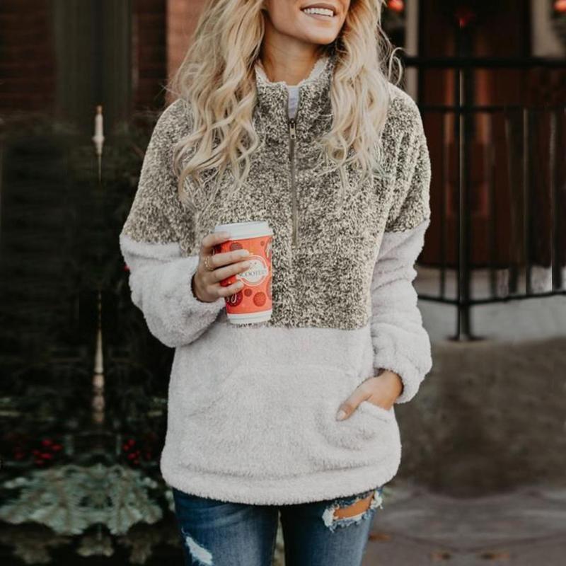 Winter Half Zipper Pullovers Sweatshirt Women High Neck Splicing Color Tops Soft Pocket Coat Girls Patchwork Soft Autumn Clothes