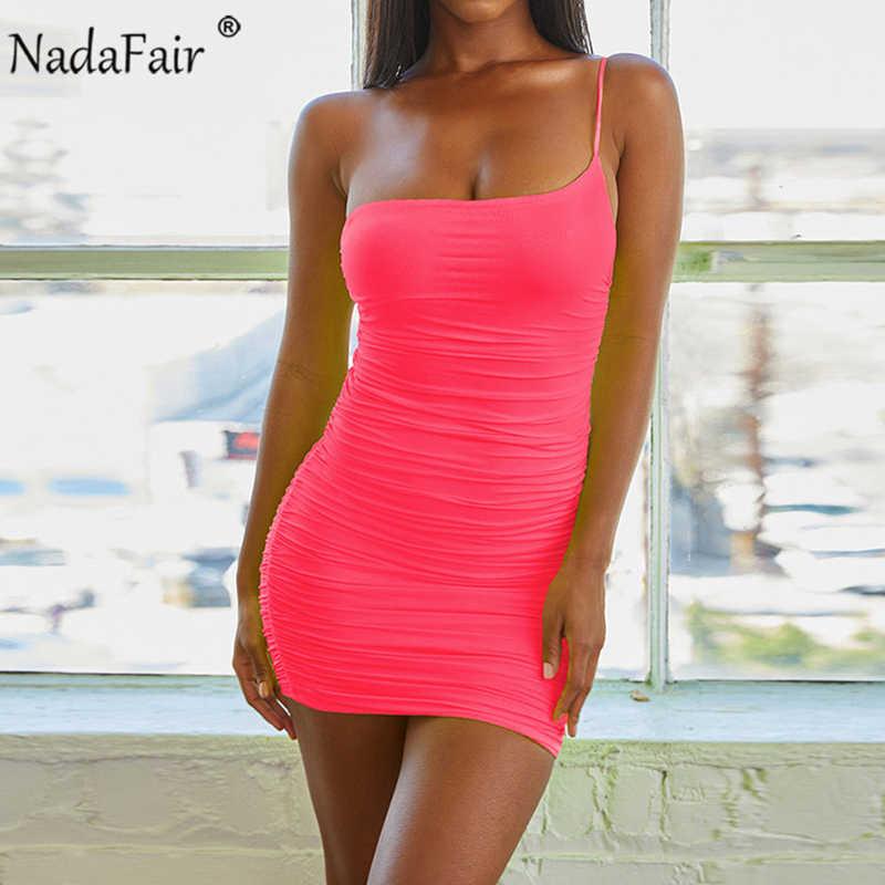 Nadafair, летнее облегающее платье на одно плечо, женское, 2019, открытая спина, с запахом, мини, Сексуальные клубные вечерние платья, неоновые платья