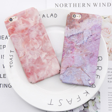 ФОТО marble phone case for iphone 6 case pink purple granite stone print cover for iphone 6 6s 7 8 plus case gift hard pc funda coque