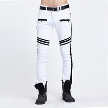 2016 Fashion Mens Biker Jeans White 2016 Runway Distressed Slim Fit Stretch Denim Pants Joggers Skinny Jeans Homme