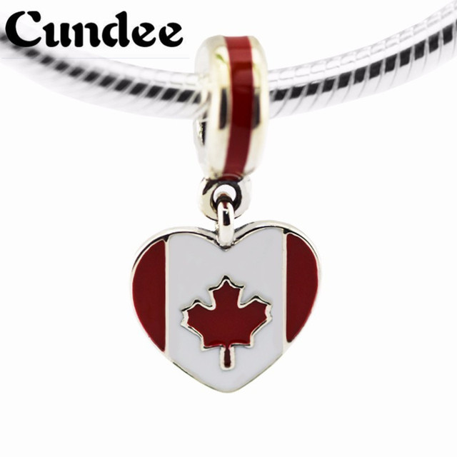 Canada Heart Flag Pendant Beads Fit Pandora Charms Silver 925 Original Bracelets Women DIY Sterling Silver Jewelry Bijouterie