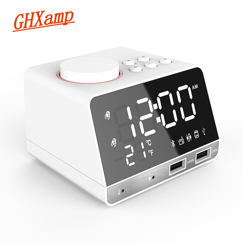 GHXAMP LED Digital Alarm Clock FM Radio Bluetooth Speaker Wireless With Microphone Temperature Time Display USB Charge port 1PC disun 3320 3w 2 1 ch 4 lcd sensing speaker w fm temperature time alarm clock blue white