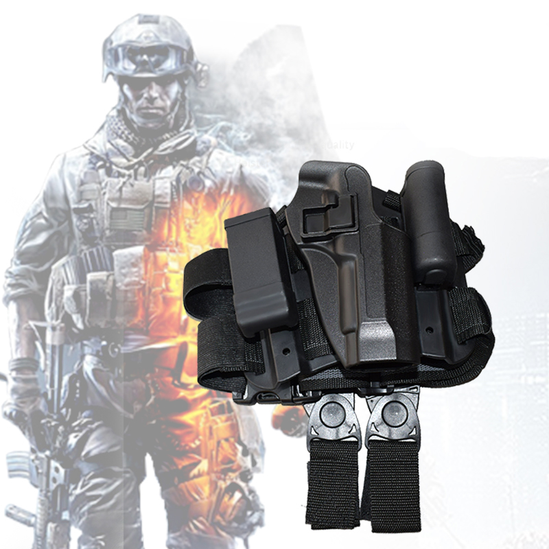 CQC Pistol Drop Right Leg Holster With Flashlight Pouch Gun Holster Beretta M9 M92 96 Hunting Accessories For Tactical Airsoft tactical 1911 leg holster right hand paddle drop thigh pistol gun holster with snap button magazine torch pouch for colt 1911