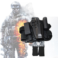CQC Pistol Drop Right Leg Holster With Flashlight Pouch Gun Holster Beretta M9 M92 96 Hunting