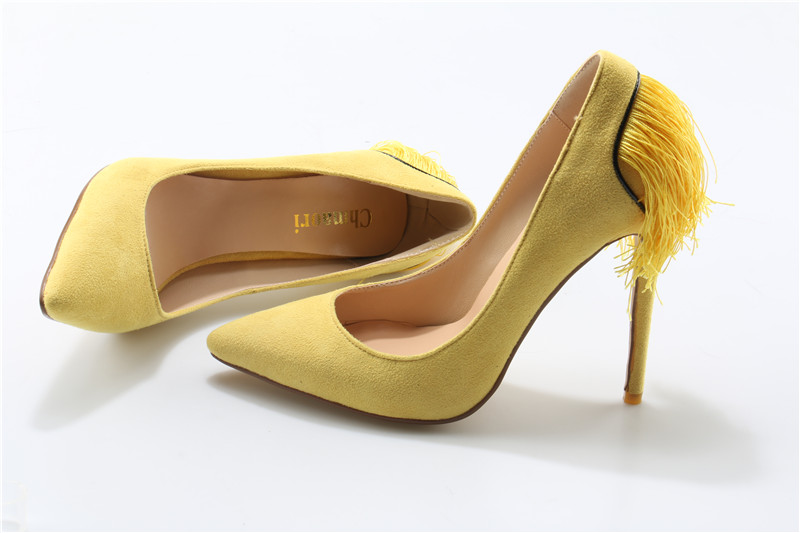 Spring New Fashion Women Yellow Suede Leather Tassels Pumps Charming Back Fringes High Heels Formal Dress Shoes Free Shipping