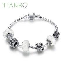 Women Girls Charms Beads Bracelets Bangle Gift Glass Beaded womens Bracelet Simple silver-plated