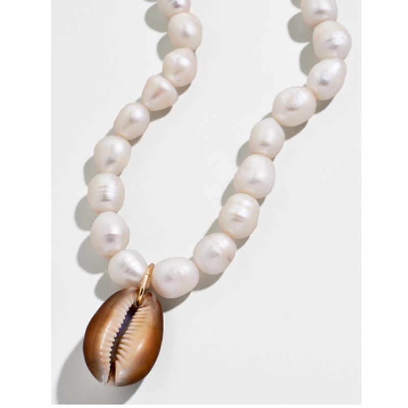 Bohemio natural gran Cowrie shell colgante gargantilla collar de las mujeres de agua dulce, barroca keshi collar statement de perlas de joyería