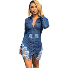 Spring Autumn Long Sleeve Denim Dress Women Sexy Hollow Out Jeans Ladies Casual Bodycon Bandage Club Mini Cowboy