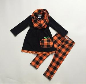 Image 3 - new baby girls FALL/Winter Halloween 3pieces scarf black top pant sets cotton pumpkin plaid pom pom boutique children clothes