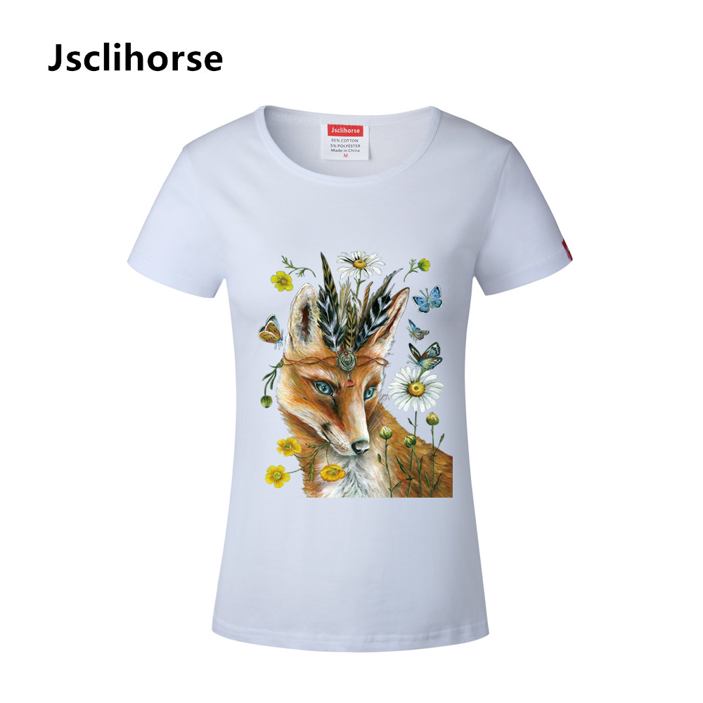 Design t shirt europe - Hot Europe Fashion Butterfly Fox Pattern Design Summer Shirt O Neck Cotton Leisure T Shirt Women Comfortable Soft Fabric