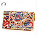 XIYUAN BRAND chinese Sided embroidery girls long wallets and purses Portable Embroidered Delicate Casual Lady clutch hand bag