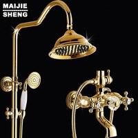 С хрустальной ручкой Роскошный смеситель для ванной набор с мыльником Золотой смеситель для ванной набор ванной Золотой душевой набор