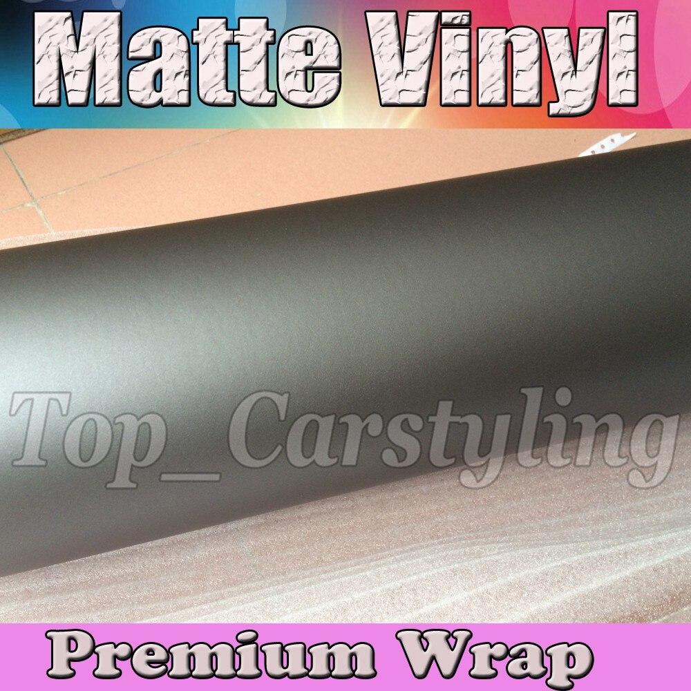 Gunmetal gris mat vinyle Anthracite Wrap avec Air sans bulles gris métallisé mat Film véhicule emballage taille 1.52x30 m/5x98f