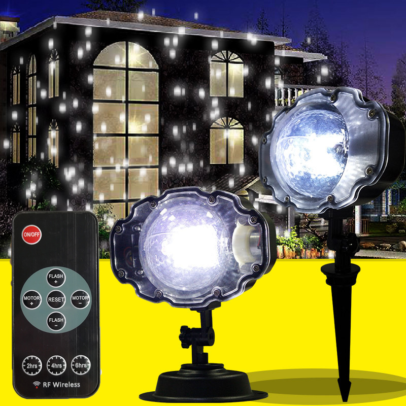 Christmas Laser Snowflake Projector Lamp Outdoor LED Waterproof Lawn Stage Projection Light Home Xmas Garden Snow Night Lights недорого