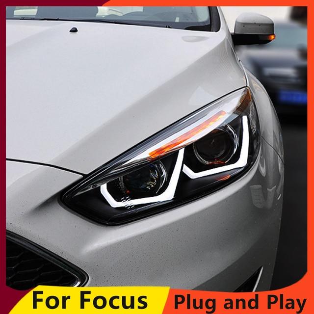 KOWELLรถยนต์สำหรับFord Focusไฟหน้า 2015 2016 2017 สำหรับโฟกัสไฟหน้าDRLเลนส์Double Beam H7 HID Xenon bi Xenonเลนส์
