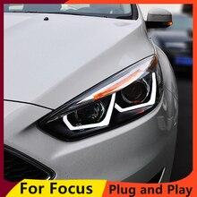 KOWELL Ford focus için araba Styling farlar 2015 2016 2017 odak far DRL Lens çift kiriş H7 HID Xenon bi xenon mercek