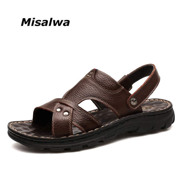 0a4fc8ada6c36 Misalwa Super Comfortable Men Summer Sandals Genuine Leather Men Casual  Sandals Massage Function Luxury Brand Men Shoes 2018