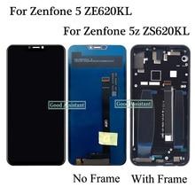 オリジナル 6.2 インチasus zenfone 5 5 2018 ZE620KL X00QD / 5Z ZS620KL lcdディスプレイタッチスクリーンデジタイザアセンブリのためのフレーム
