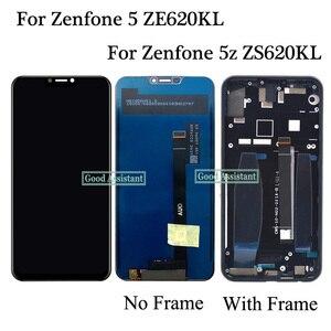 Image 1 - Oryginalny 6.2 cala dla Asus ZenFone 5 2018 ZE620KL X00QD/5Z ZS620KL wyświetlacz LCD montaż digitizera ekranu dotykowego z ramką