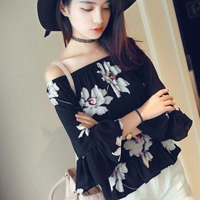 New Korean Style Fashion Women Girl 3 4 Sleeve Chiffon Floral Tops Flare Blouse In Blouses