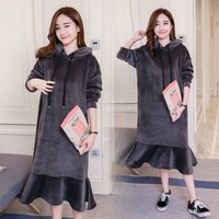 New Autumn Winter Ruffle Mid Casual Hoodies Dress Silver Fox Long Sleeve Oversize Dress Loose Hooded Solid Dresses
