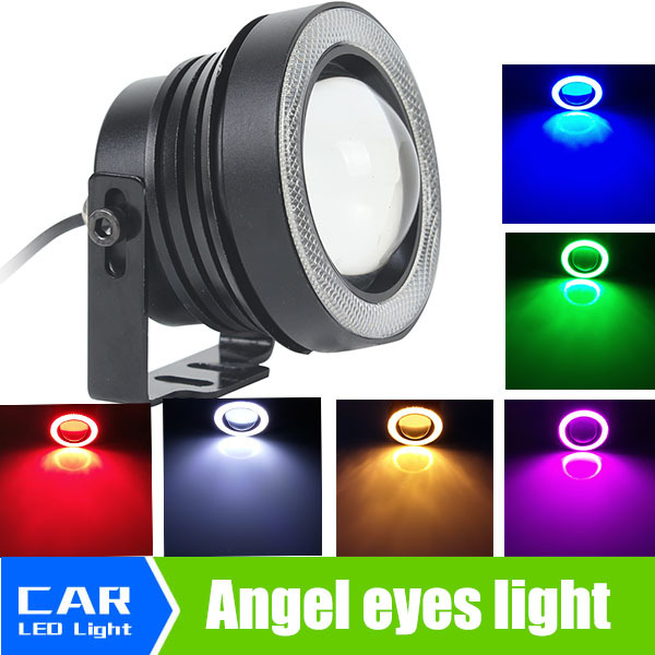 High Power 3.5 87mm LED Fog Lights with White Blue Yellow Purple Red Green COB Halo Angel Eye Cars 12V 24V 2pcs 9005 hb3 high power 30w bulb fog driving amber yellow white green blue red led light 12v