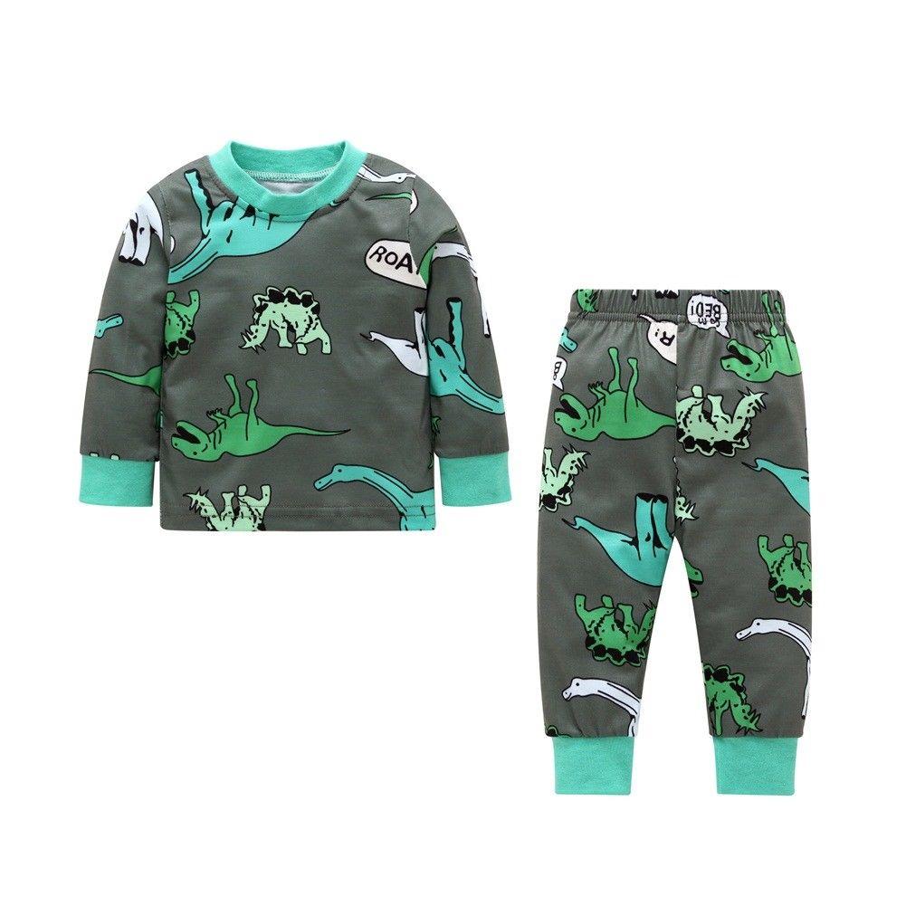 7204c8466652 2018 Toddler Kids Baby Boy Girl Dinosaur Sweatsuit Tops Pants ...