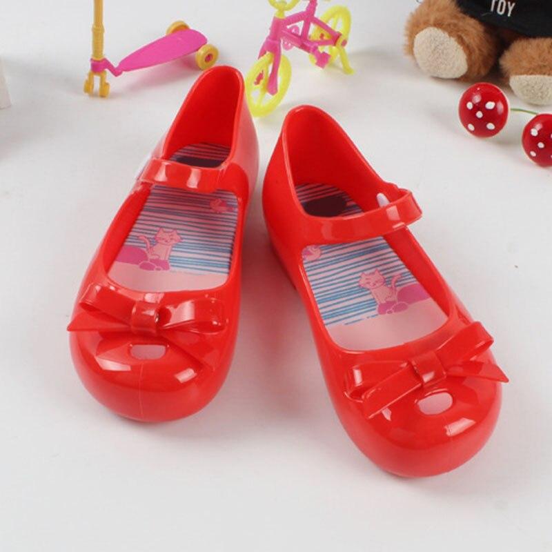 2018 Fashion Summer Kids Girls Sandals Children PVC Bowtie Style Shoes US 6.5-9
