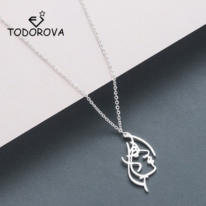 Todorova Abstract Distorted Human Girl Face Pendant Necklace Hollow Facial Contour Long Necklaces for Women(China)