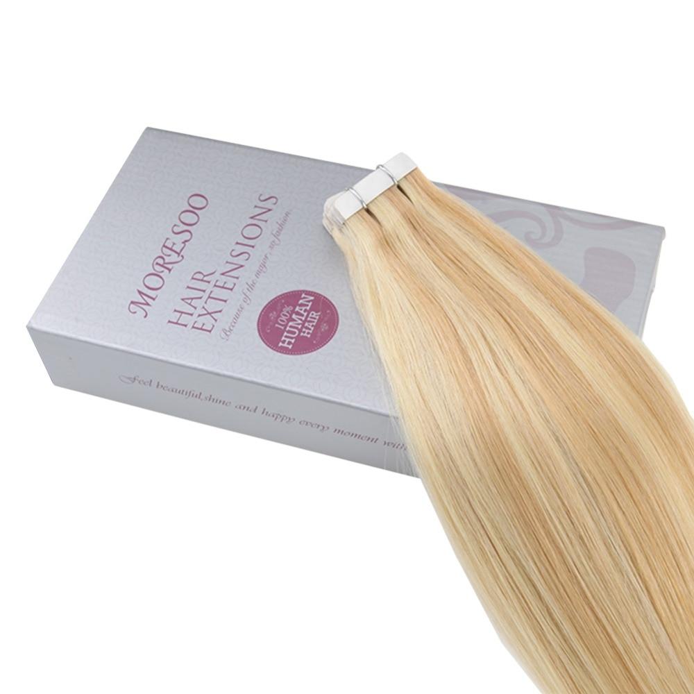 Moresoo человеческие волосы для наращивания лента в волосах подчеркивает цвет бразильские натуральные волосы с неповрежденной кутикулой для наращивания #16 изюминка с блондином - 4