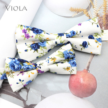 Nice Floral Printed Parent-Child Bowtie Sets 100% Cotton Chic Kids Pet Men Butterfly Party Dinner Wedding Bow Tie Gift Accessory