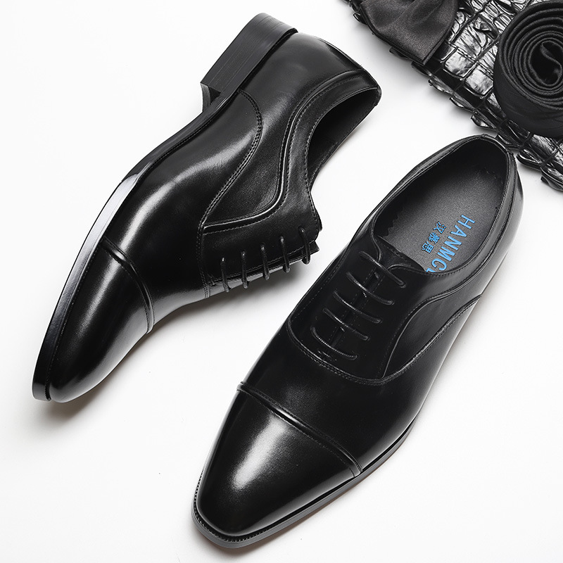Genuine Cow Leather Luxury Toe Cap Men Wedding Shoes Designer Dress Shoes Black Brown Lace up Fashion Office Shoes in Formal Shoes from Shoes