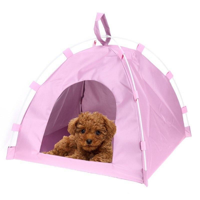 Oxford Cloth Pet Tent Dog Cat Detachable Fiber Rod Folding Sleeping Bed Mat Puppy Kitten Outdoor Travel Supplies