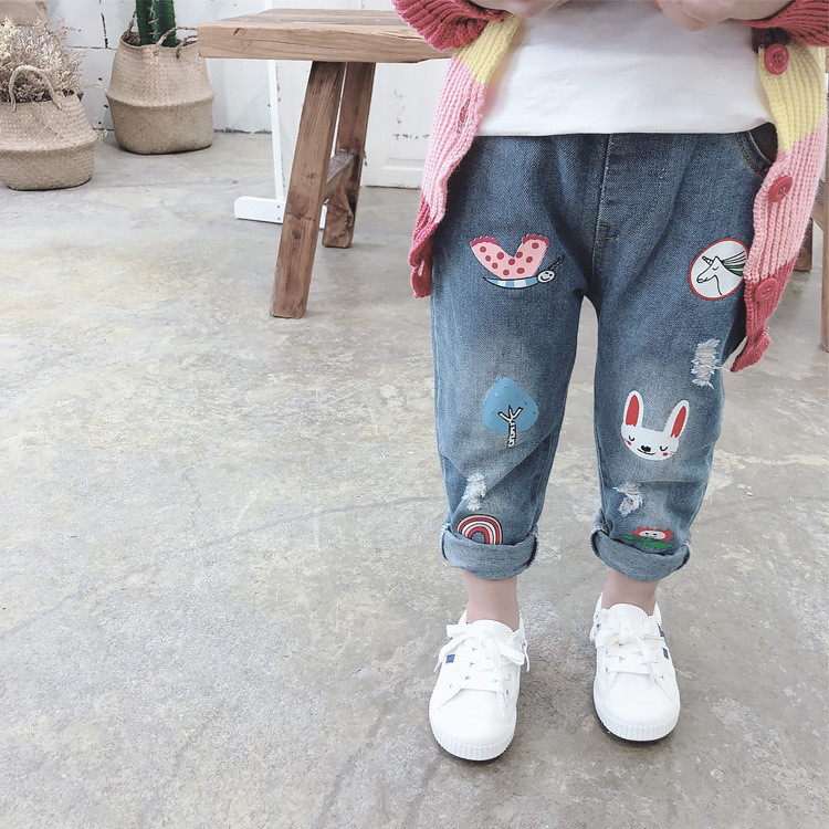 meninas bonito dos desenhos animados jeans 2019 01
