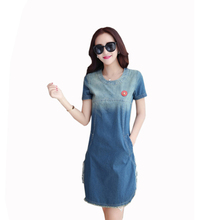 Women Casual Denim Dress Ladies Short Sleeve Down  Office Lady Loose 2019 New Style Lace Jeans Party