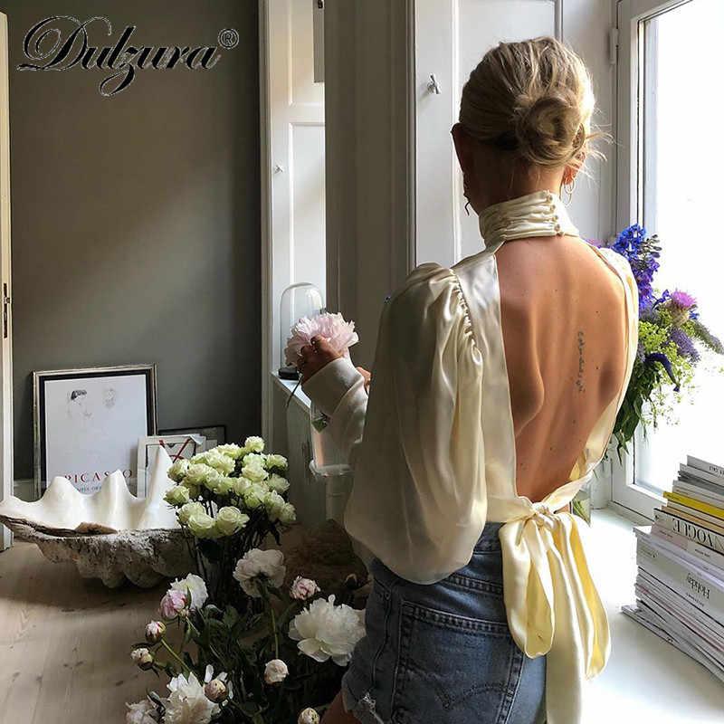 Dulzura แขนยาว ruched คอ backless lace up เสื้อเสื้อ 2018 ฤดูใบไม้ร่วงฤดูหนาวผู้หญิงลำลองเสื้อกลับด้านบน