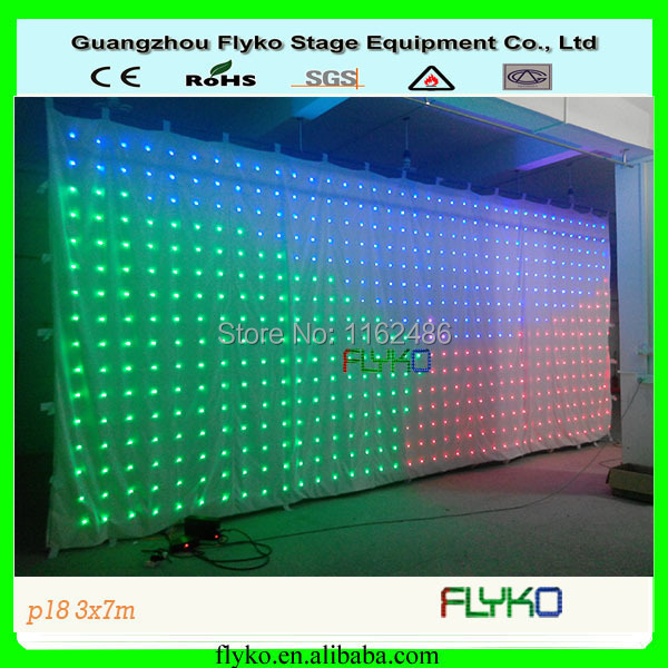 FLYKO white cloth RGB led display animation Led video curtain p18 3x7m