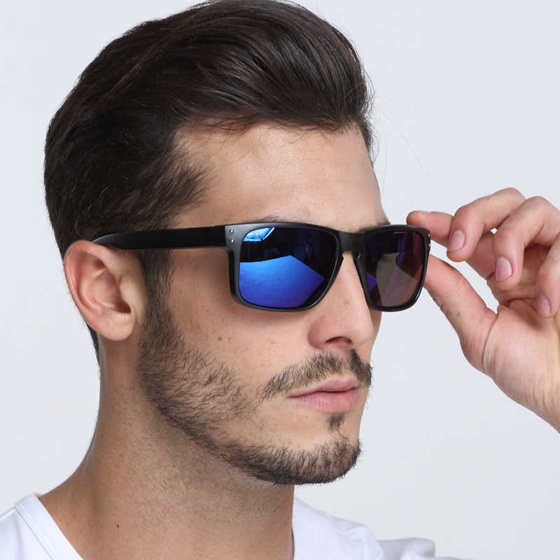 c76cae5a5d8e Dokly blue lens sunglasses men Reflective Coating Square Sun Glasses men  Brand Designer Oculos De Sol