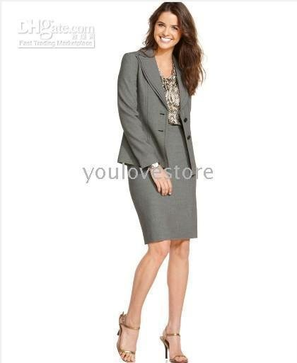 Gray Women Skirt Suit Women's Clothing Brand Women Apparel Accept Custom Made 505