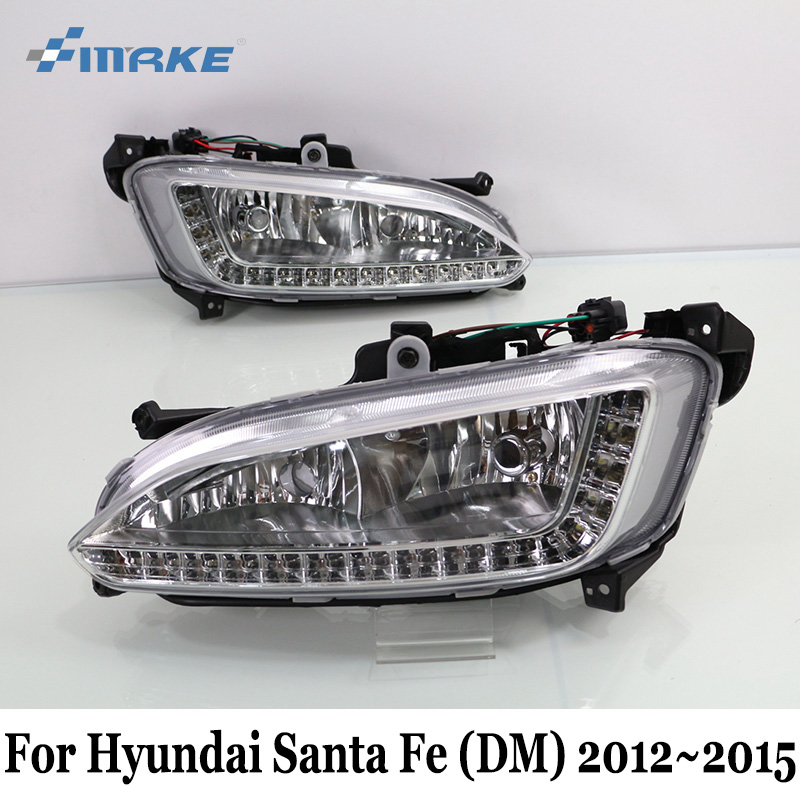 SMRKE DRL For Hyundai Santa Fe DM 2012~2015 / Car LED Daytime Running Lights With Fog Lamp Frame / Day Driving Lamp Car Styling дефлекторы окон vinguru hyundai santa fe iii dm 2012 2014 кроссовер