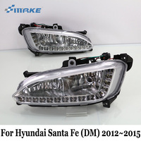 SMRKE DRL For Hyundai Santa Fe DM 2012~2015 / Car LED Daytime Running Lights With Fog Lamp Frame / Day Driving Lamp Car Styling