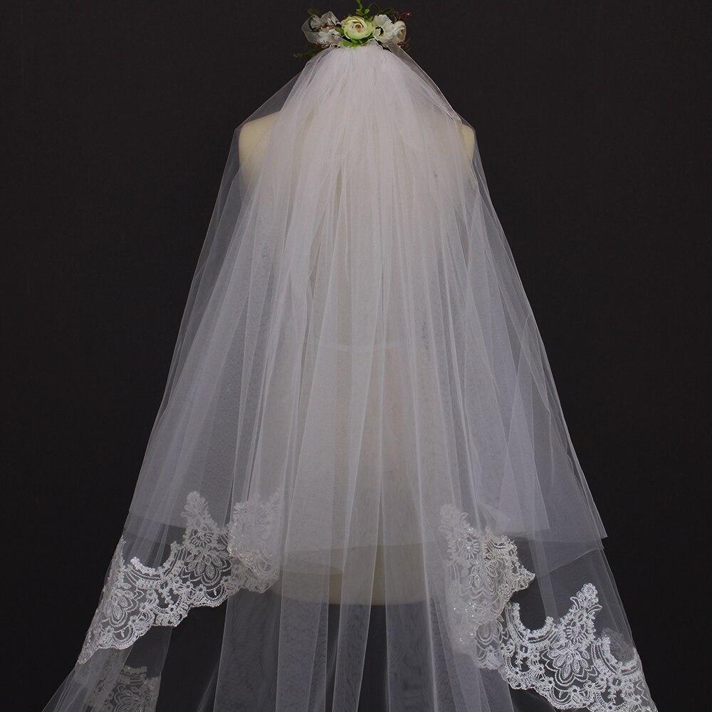 3 meter två lager kantkant lång brudslinga med sömmade - Bröllopstillbehör - Foto 3