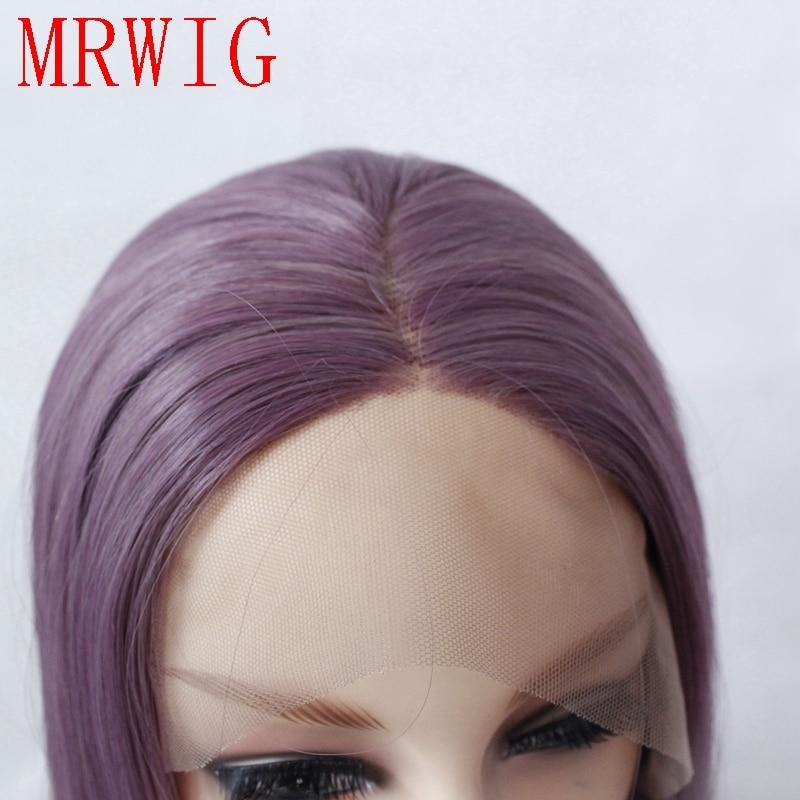 MRWIG Real Natural Looking Blandad Lila Lång Vågig Mellandel - Syntetiskt hår - Foto 5