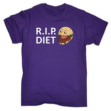 T Shirts With Sayings Crew Neck Graphic Short Sleeve R . I P Diet ... Burger Design Mens