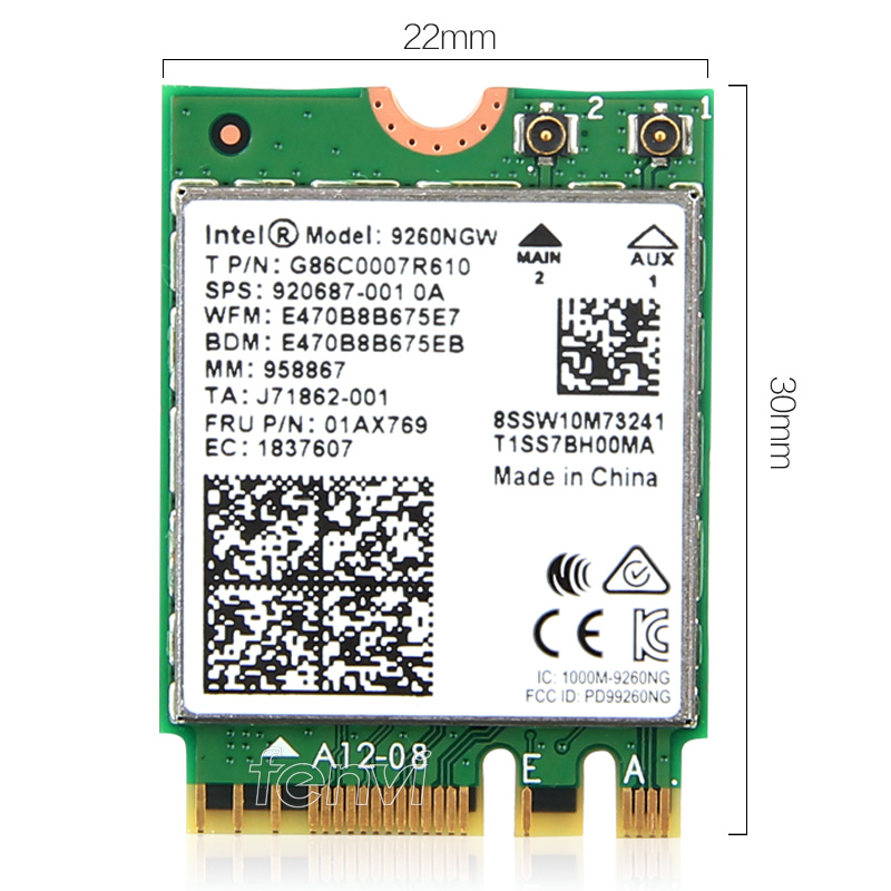 Dual Band Desktop PCI-E Wireless-AC 9260 Intel 9260NGW 802.11ac MU-MIMO 5Ghz 1.73Gbps WiFi Bluetooth 5.0 Adapter For Windows 10