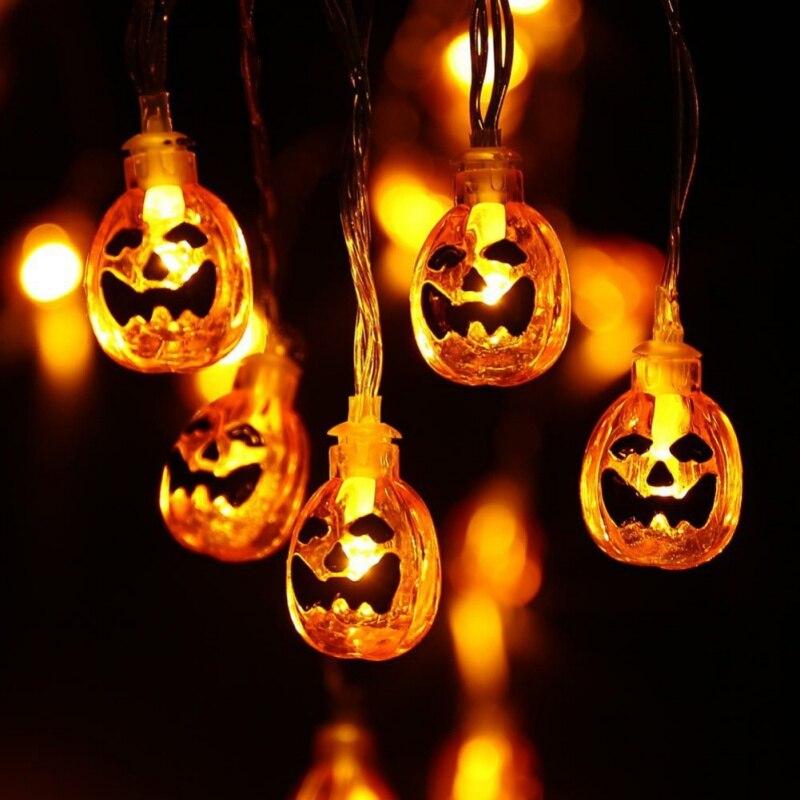 1.5M LED String Light Halloween Decor Pumpkin Skull Light Strip Waterproof Outdoor Lanterns with Plug or Battery Case 10 Heads