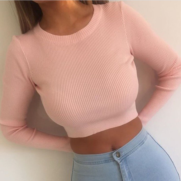 Womens Fall Fashion Sexy High Waist Short Crop Sweaters Pullovers Vintage Classic Loose Knitting Thick Line  Short Sweater