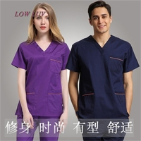 2017 Medical Clothing New Product Men's Hospital Medical Scrub Set Doctor Surgical Clothes V Neck Contrast Piping Design